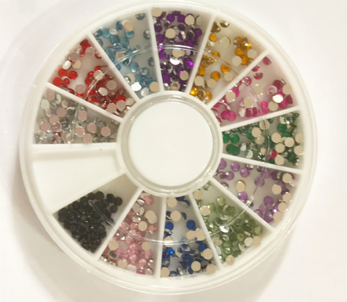 2mm MIXED COLOUR ROUND rhinestone wheel  ***ONLY £1.66***